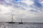 Stormy Skies with a Hint of a Rainbow over Boats in Wickford Harbor, Narragansett Bay, Village of Wickford, North Kingstown, RI
