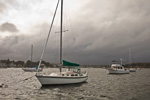 Stormy Skies over Boats in Wickford Harbor, Narragansett Bay, Village of Wickford, North Kingstown, RI