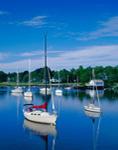 Sailboats in Calm, Barrington River, Barrington, RI Original: 4x5 inch color transparency