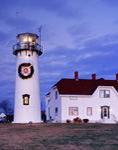 Chatham Light with Holiday Lights and Wreath, Cape Cod, Chatham, MA Original: 4x5 inch color transparency