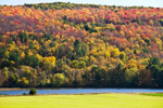 View across Connecticut River in Fall from Rockingham, VT to Charlestown, NH
