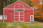 Red Barn with White Trim in Fall at New Salem Historical Society, New Salem, MA