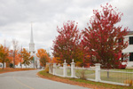 White Fence and First Congregational Church on Royalston Common in Fall, Royalston, MA