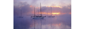 Sailboats in Morning Ground Fog at Sunrise, Connecticut River, Essex, Connecticut
