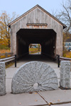Conway Covered Bridge with Mill Stones in Foreground, Conway, MA