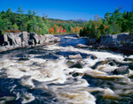 Rapids above Big Eddy on West Branch of Penosbscot River in Fall, Mt Katahdin in Distance, Great North Woods, ME