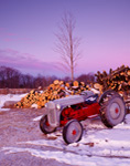 1952 Ford Tractor and Wood Pile on Early Winter Morning at High Acres, Royalston, MA