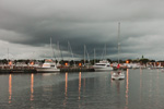 Storm Clouds at Night over Boats in New Bedford Harbor, New Bedford and Fairhaven, MA