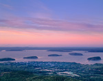 Sunset View of Porcupine Islands and Bar Harbor from Cadillac Mountain, Acadia National Park, Bar Harbor, ME