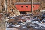 Red Covered Bridge over Kent Falls Brook, Kent Falls State Park, Kent, CT