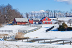 Red Barns, Pastures and Fences in Winter, Sharon, CT