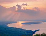 Morning Light with Sunrays through Clouds over Mooselookmeguntic Lake , Rangeley Lakes Region, Rangeley, ME