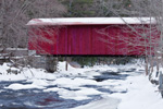 Tannery Covered Bridge over West Branch Farmington River in Winter, Sandisfield, MA