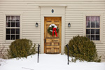 Snowed-in Entrance to Colonial-style Home with Holiday Wreath on Door, Village of Milton, Lithcfield,  CT