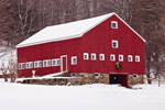 Big Red Barn with Holiday Wreath in Winter, Peterborough, NH