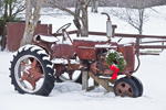 Old Tractor Decorated with Wreath for Holidays, East Hill Farm, Troy, NH