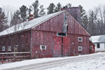 Old Red Barn and Falling Snow, Royalston, MA