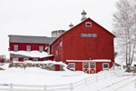 Big Red Barn with Farm Buildings and White Fences at Grandview Farm in Winter, Sharon, CT