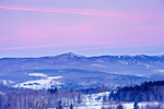 Sunrise over Rural Vermont Landscape and Haystack Mountain in Winter, Overview from Wilmington, VT