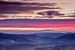 Dramatic Sunrise over Green Mountain National Forest, View from Dover, VT to Mt Monadnock in Jaffrey, New Hampshire, Dover, VT