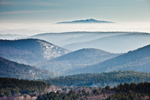 Ground Fog and Mountain View from Dover, VT to Mt Monadnock in Jaffrey, New Hampshire, Dover, VT
