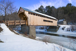 Worral Covered Bridge (built 1868, renovated 2010) over Williams River in Winter, Rockingham, VT
