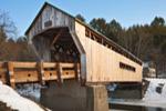 Worral Covered Bridge (built 1868, renovated 2010) over Williams River in Winter, Rockingham, VT