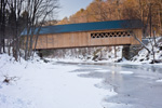 Williamsville Covered Bridge (built 1870, renovated 2010) over Rock River in Winter, Village of Williamsville, Newfane, VT