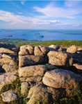 View of Porcupine Islands and Frenchman Bay from Granite Outcrop atop Cadillac Mountain, Acadia National Park, Bar Harbor, ME