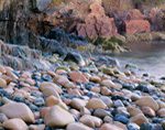 Water-polished Cobblestones and Colorful Cliffs at Little Hunters Beach, Acadia National Park, Mt Desert, ME