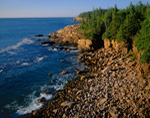 Early Morning Light on Cobblestones, View from Ocean Drive to Otter Cliffs, Acadia National Park, Bar Harbor, ME