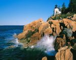 Waves Crashing against Rocky Coastline at Bass Harbor Head Light, Acadia National Park, Bass Harbor, ME