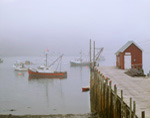 Cutler Harbor with Pier and Lobster Shack in Fog, Cutler, ME