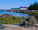 Lobster Traps and Barn with Lobster Motif at Black Duck Cove, Great Wass Isand, ME