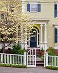 Flowering Dogwood Tree in Front of Residence with White Fence, East Side, Providence, RI