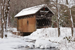 Swamp Meadow Covered Bridge over Hemlock Brook after Snowstorm, Foster, RI