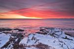 Winter Sunrise on Narragansett Bay and Atlantic Ocean at Beavertail State Park, Jamestown, RI