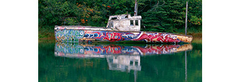 Colorful Grafitti on Abandoned Old Lobster Boat, Lubec, ME