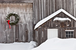Close-up Detail of Wreath on Barn Door and Oxen Yoke on Small Shed at Cothlestone Farm after Snowstorm, Royalston, MA