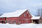 Old Red Barn after Snowstorm, Orange, MA