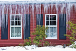 Country Home with Row of Icicles during Winter Deep Freeze, Swanzey, NH