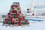 Lobster Trap Tree with Red  Heart Wreaths at Nubble Light (Cape Neddick Light) after Snowstorm, Cape Neddick, York, ME
