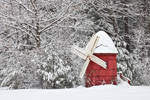 Little Red Windmill during Snowstorm, Templeton, MA