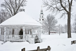 Gazebo and First Church of Templeton on Templeton Common during Snowstorm, Templeton, MA