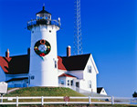 Nobska Point Light with Holiday Wreath, Cape Cod, Falmouth, MA