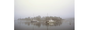 Boats in Fog at Moorings on York River, Village of York Harbor, York, ME