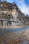 View of Roark Bluff on Buffalo National River at Steel Creek, Ozark Mountains, Newton County, AR