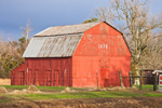 Early Morning Light Shines on Red Barn, Ida, Cleburne County, AR
