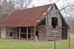 Cedar Log Barn at Parker-Hickman Farmstead Historic District, Buffalo National River, Ozark Mountains, near Erbie, Newton County, AR