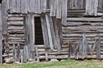 Close-up View of Cedar Log Barn at Parker Hickman Farmstead HIstoric District, Buffalo National River, Ozark Mountains, near Erbie, Newton County, AR